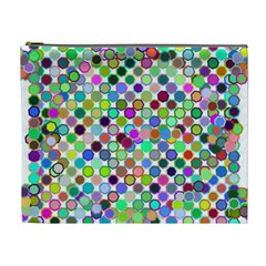 Colorful Dots Balls On White Background Cosmetic Bag (xl)