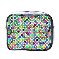 Colorful Dots Balls On White Background Mini Toiletries Bags by Simbadda