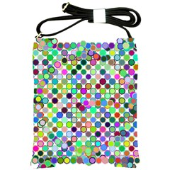 Colorful Dots Balls On White Background Shoulder Sling Bags by Simbadda