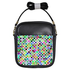 Colorful Dots Balls On White Background Girls Sling Bags by Simbadda