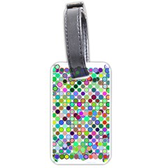 Colorful Dots Balls On White Background Luggage Tags (one Side)