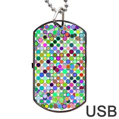 Colorful Dots Balls On White Background Dog Tag Usb Flash (one Side) by Simbadda