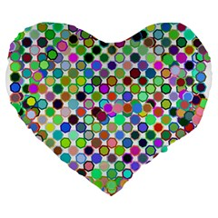 Colorful Dots Balls On White Background Large 19  Premium Heart Shape Cushions by Simbadda