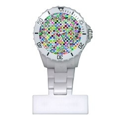 Colorful Dots Balls On White Background Plastic Nurses Watch by Simbadda