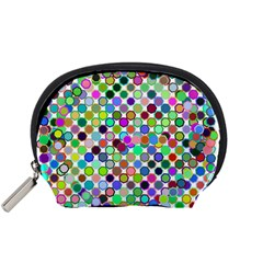 Colorful Dots Balls On White Background Accessory Pouches (small)  by Simbadda