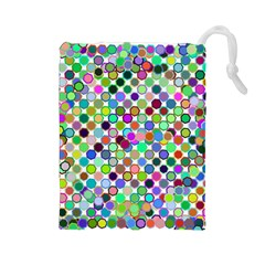Colorful Dots Balls On White Background Drawstring Pouches (large)  by Simbadda