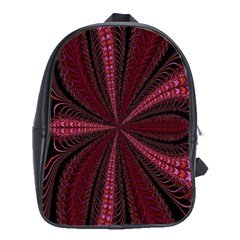 Red Ribbon Effect Newtonian Fractal School Bags(large)  by Simbadda