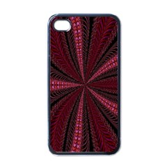 Red Ribbon Effect Newtonian Fractal Apple Iphone 4 Case (black)