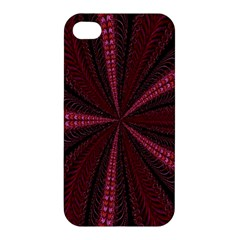 Red Ribbon Effect Newtonian Fractal Apple Iphone 4/4s Premium Hardshell Case by Simbadda