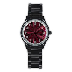Red Ribbon Effect Newtonian Fractal Stainless Steel Round Watch