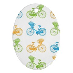 Vintage Bikes With Basket Of Flowers Colorful Wallpaper Background Illustration Ornament (oval) by Simbadda