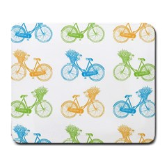 Vintage Bikes With Basket Of Flowers Colorful Wallpaper Background Illustration Large Mousepads