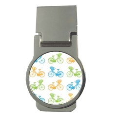 Vintage Bikes With Basket Of Flowers Colorful Wallpaper Background Illustration Money Clips (round)  by Simbadda