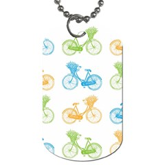 Vintage Bikes With Basket Of Flowers Colorful Wallpaper Background Illustration Dog Tag (one Side)