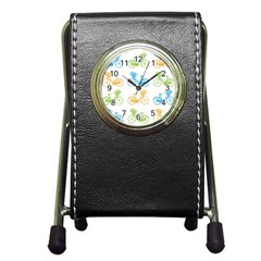 Vintage Bikes With Basket Of Flowers Colorful Wallpaper Background Illustration Pen Holder Desk Clocks