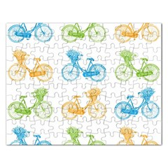 Vintage Bikes With Basket Of Flowers Colorful Wallpaper Background Illustration Rectangular Jigsaw Puzzl by Simbadda