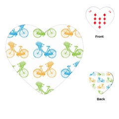 Vintage Bikes With Basket Of Flowers Colorful Wallpaper Background Illustration Playing Cards (heart)  by Simbadda