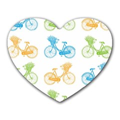 Vintage Bikes With Basket Of Flowers Colorful Wallpaper Background Illustration Heart Mousepads