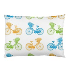 Vintage Bikes With Basket Of Flowers Colorful Wallpaper Background Illustration Pillow Case by Simbadda