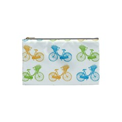 Vintage Bikes With Basket Of Flowers Colorful Wallpaper Background Illustration Cosmetic Bag (small)  by Simbadda