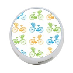 Vintage Bikes With Basket Of Flowers Colorful Wallpaper Background Illustration 4 Port Usb Hub (one Side)