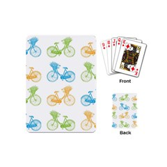 Vintage Bikes With Basket Of Flowers Colorful Wallpaper Background Illustration Playing Cards (mini)