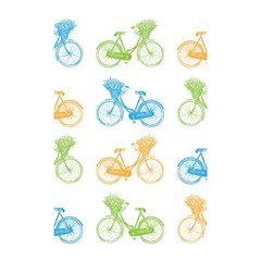 Vintage Bikes With Basket Of Flowers Colorful Wallpaper Background Illustration Shower Curtain 48  X 72  (small)
