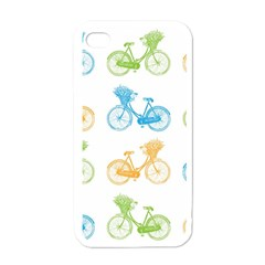Vintage Bikes With Basket Of Flowers Colorful Wallpaper Background Illustration Apple Iphone 4 Case (white) by Simbadda