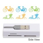 Vintage Bikes With Basket Of Flowers Colorful Wallpaper Background Illustration Memory Card Reader (Stick)  Front
