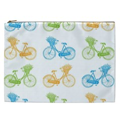 Vintage Bikes With Basket Of Flowers Colorful Wallpaper Background Illustration Cosmetic Bag (xxl)