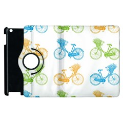 Vintage Bikes With Basket Of Flowers Colorful Wallpaper Background Illustration Apple Ipad 3/4 Flip 360 Case