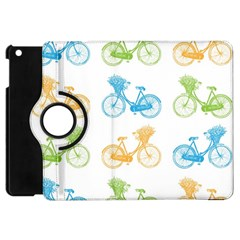 Vintage Bikes With Basket Of Flowers Colorful Wallpaper Background Illustration Apple Ipad Mini Flip 360 Case by Simbadda