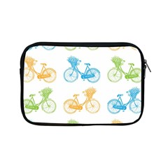 Vintage Bikes With Basket Of Flowers Colorful Wallpaper Background Illustration Apple Ipad Mini Zipper Cases by Simbadda