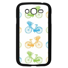 Vintage Bikes With Basket Of Flowers Colorful Wallpaper Background Illustration Samsung Galaxy Grand Duos I9082 Case (black)