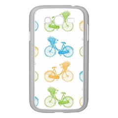 Vintage Bikes With Basket Of Flowers Colorful Wallpaper Background Illustration Samsung Galaxy Grand Duos I9082 Case (white)