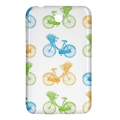 Vintage Bikes With Basket Of Flowers Colorful Wallpaper Background Illustration Samsung Galaxy Tab 3 (7 ) P3200 Hardshell Case