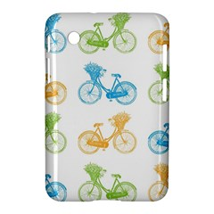 Vintage Bikes With Basket Of Flowers Colorful Wallpaper Background Illustration Samsung Galaxy Tab 2 (7 ) P3100 Hardshell Case