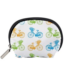 Vintage Bikes With Basket Of Flowers Colorful Wallpaper Background Illustration Accessory Pouches (small)  by Simbadda