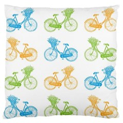 Vintage Bikes With Basket Of Flowers Colorful Wallpaper Background Illustration Standard Flano Cushion Case (one Side) by Simbadda