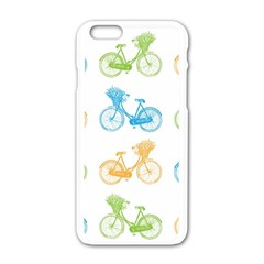 Vintage Bikes With Basket Of Flowers Colorful Wallpaper Background Illustration Apple Iphone 6/6s White Enamel Case by Simbadda