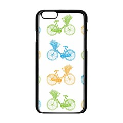 Vintage Bikes With Basket Of Flowers Colorful Wallpaper Background Illustration Apple Iphone 6/6s Black Enamel Case by Simbadda