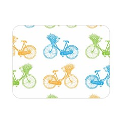 Vintage Bikes With Basket Of Flowers Colorful Wallpaper Background Illustration Double Sided Flano Blanket (mini)  by Simbadda