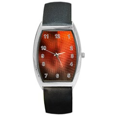 Background Technical Design With Orange Colors And Details Barrel Style Metal Watch by Simbadda