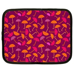 Umbrella Seamless Pattern Pink Lila Netbook Case (xxl)  by Simbadda