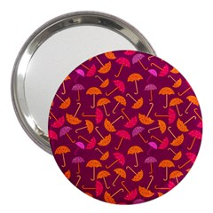 Umbrella Seamless Pattern Pink Lila 3  Handbag Mirrors by Simbadda