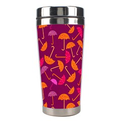 Umbrella Seamless Pattern Pink Lila Stainless Steel Travel Tumblers by Simbadda