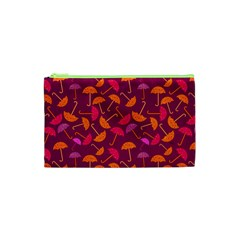 Umbrella Seamless Pattern Pink Lila Cosmetic Bag (xs) by Simbadda