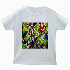 Colorful Textile Background Kids White T Shirts by Simbadda