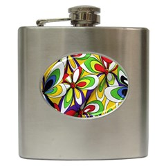 Colorful Textile Background Hip Flask (6 Oz) by Simbadda