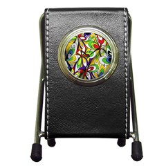 Colorful Textile Background Pen Holder Desk Clocks by Simbadda